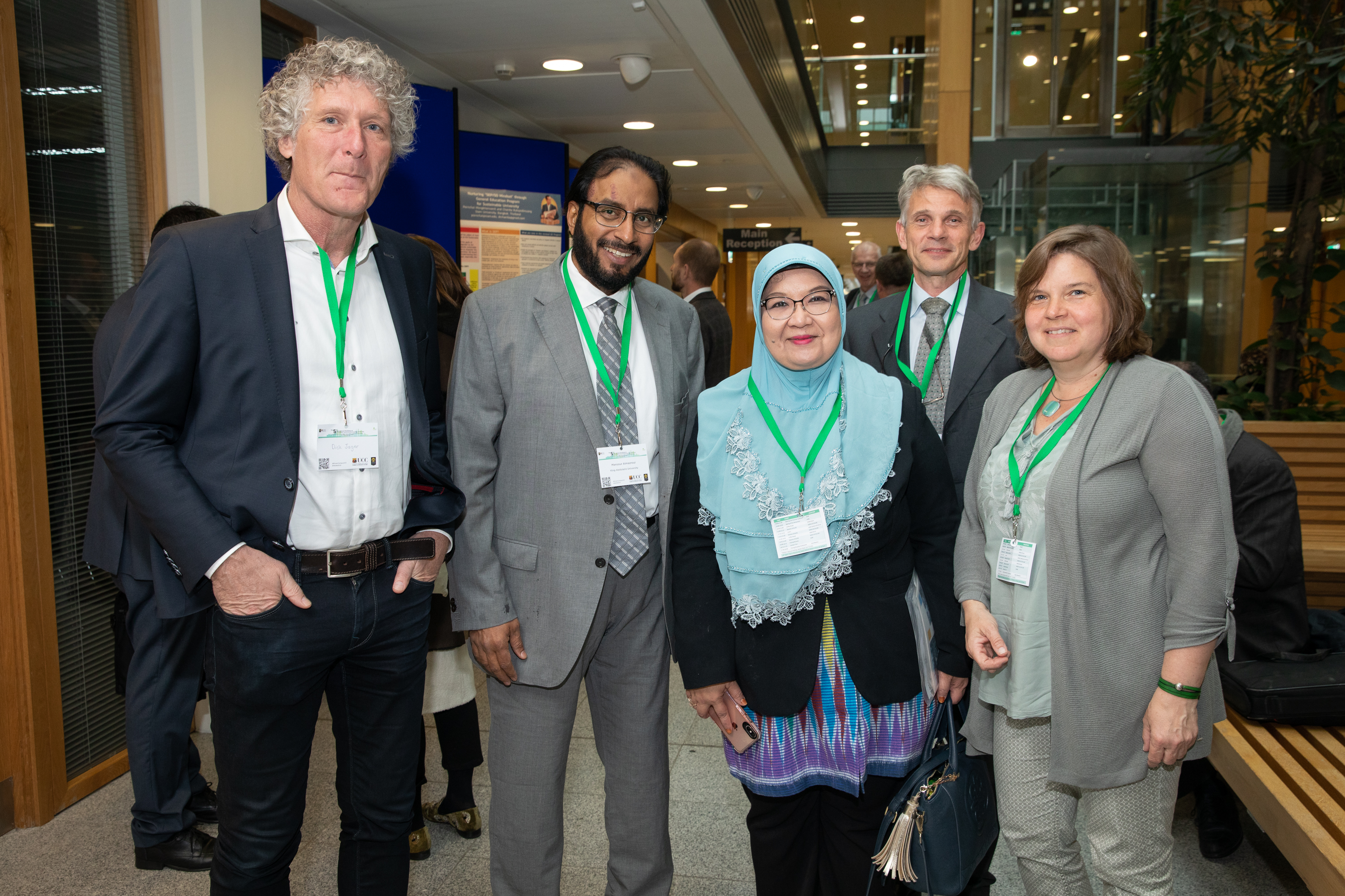 FREE IMAGE- NO REPRO FEE. Photographed on 15th April in UCC,  university representatives from 34 countries at the 5th International Workshop on GreenMetrics. This conference was co-hosted by UCC and Universitas Indonesia (UI). UI GreenMetrics ranks 3rd level institutions based on their performance in areas such as waste management, green transport, energy reduction, water management and education in sustainability. This year's theme is 'Sustainable Universities in a Changing World – challenges, lessons and opportunities.  Photographed were Dick Jager, Mansour Almazroui, Riri Fitri Sari, Joris Fortuin and Erna Maters.  Photo By Tomas Tyner, UCC.